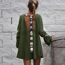 Load image into Gallery viewer, Sexy Backless Autumn Dress Women Fashion Flare Long Sleeve Loose female Women Autumn Style Vestido Women clothing Mini Dress
