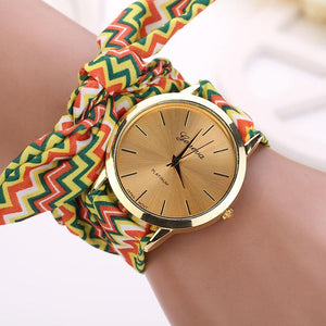 New Women Aztec Tribal Floral Cloth Quartz Dial Wristwatch Watch