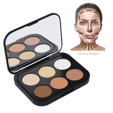 Load image into Gallery viewer, RUIMIO Mini 6 Colors Face Cream Makeup Contour Palette & 2pcs Makeup Water Droplets Puff