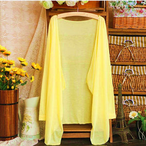 Summer Women Long Thin Cardigan Modal Sun Protection Clothing Tops