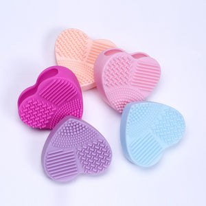 Silicone Heart Shape Makeup Brush Cleaner Cosmetic Cleaning Tool Washing Brush
