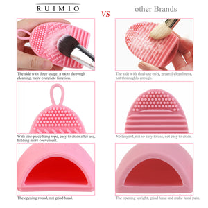 RUIMIO 2pcs Cleaning Makeup Washing Brush Silica Glove Scrubber Board Cosmetic Clean Tools