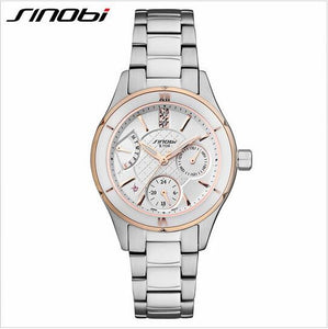 SINOBI Ceramic Watch Luxury Women's Watches Week Date Ladies Watch