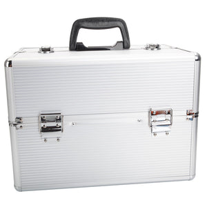 Portable Aluminum Makeup Storage Box with Keys White