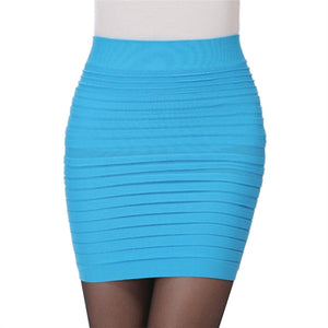 Womens Elastic Pleated High Waist Package Hip Short Skirt Fashion Sexy Female Clothing