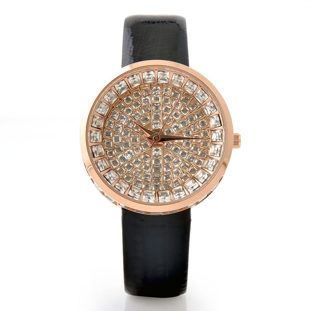Luxury Full Diamond Bling Watch Rhinestone Women'S Watches Leather Watch