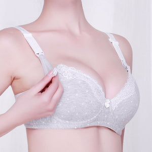 Sexy Push up Opening Women Button Cotton Fitness Padded Yoga Lace Breast Feeding Clothing Pregnant Women Underwear Maternity Nursing Bras