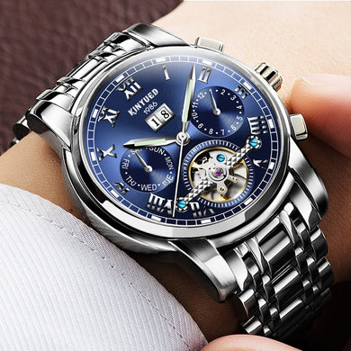 KINYUED Stainless Steel Mechanical Watches Men Tourbillon Automatic Watch Waterproof Calendar Top Brand Masculino Relogio 2019