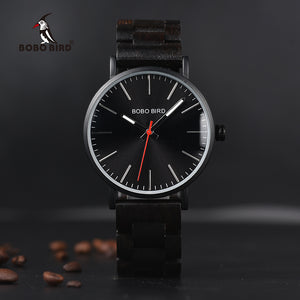 reloj hombre BOBO BIRD Wood Watch Men Metal Timepieces Quartz Thin Luxury Mens Wristwatches Top Brand luxury For Boy Gifts Items