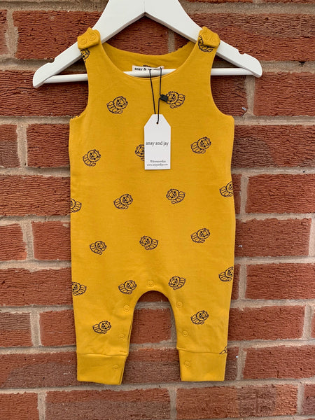 Unisex lion all over print baby romper
