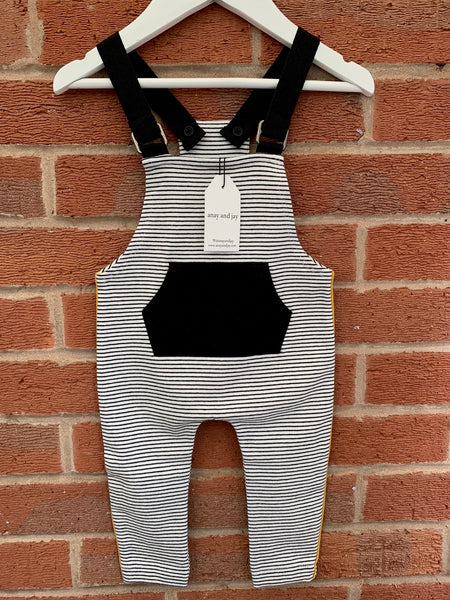 Unisex black and white stripy jersey kids dungaree