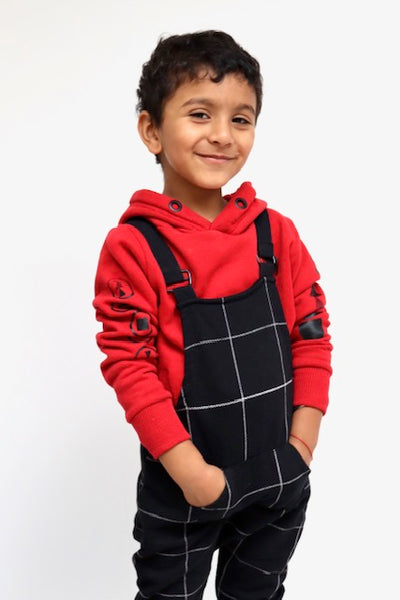 Black unisex check kids dungaree