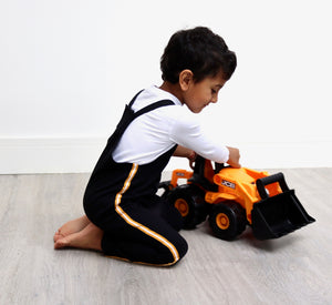 Unisex black jersey kids dungaree with mustard taping