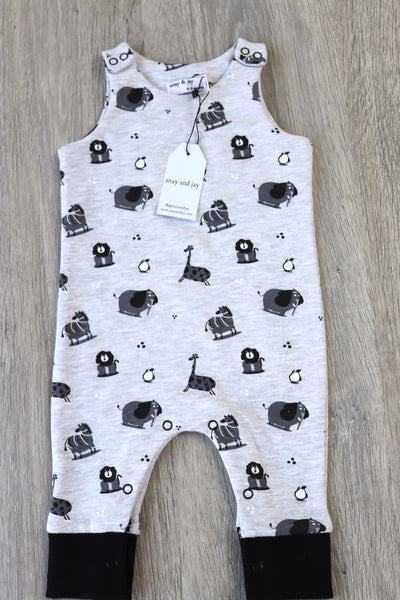 Grey safari all over print unisex baby romper