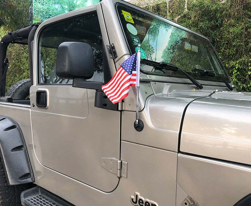 Zinc Alloy Antenna With American Flag For Jeep Wrangler JK 2007-2017
