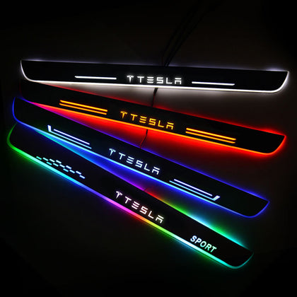 Tesla Upgrade Led Door Side Sill Step | Door Sills Plate - Car Accessories