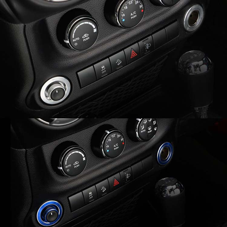Aluminum Alloy Switch Knob Ring Cover Trim For Jeep Wrangler JK 07-17