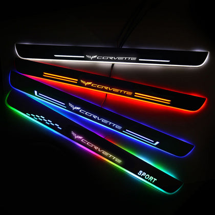 Corvette Car Customized Illuminated Door Sills | Door Sill Replacement For Car Upgrade