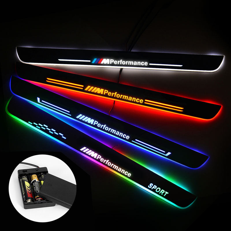 BMW Door Sills Trim Plates | Batteries Powered Door Sill Lights For Car Decorative Light Upgrade