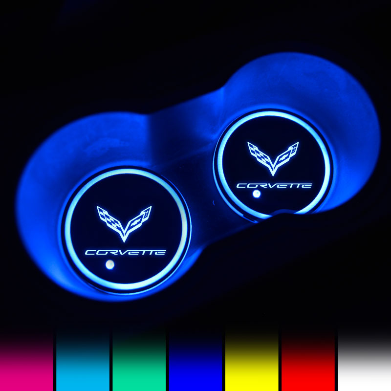 Corvette LED Car Logo Coaster 2pcs