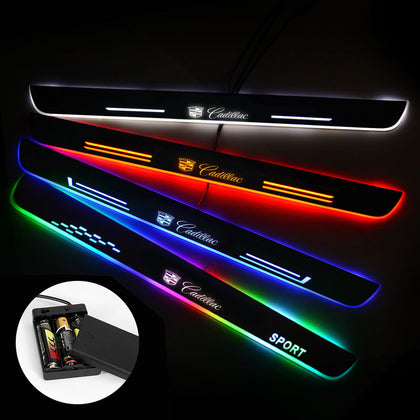 Cadillac Compatible Door Sills Plate | Batteries Powered Door Sill Trim Illuminated For Car light modification