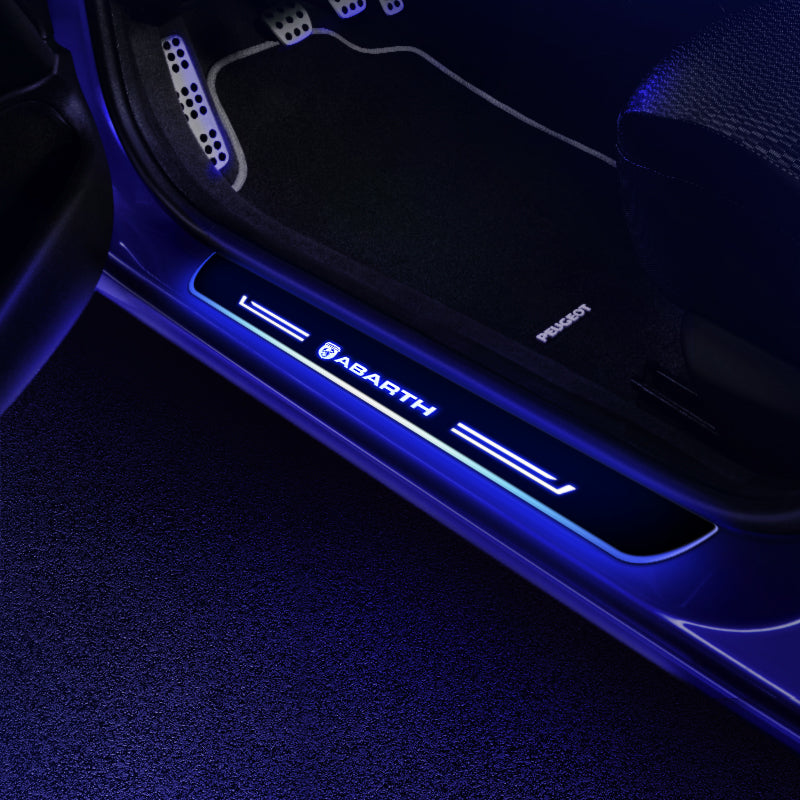 Abarth Door Sill Pan | Batteries Powered LED Door Sills Entry Guards Light | Car Accessories