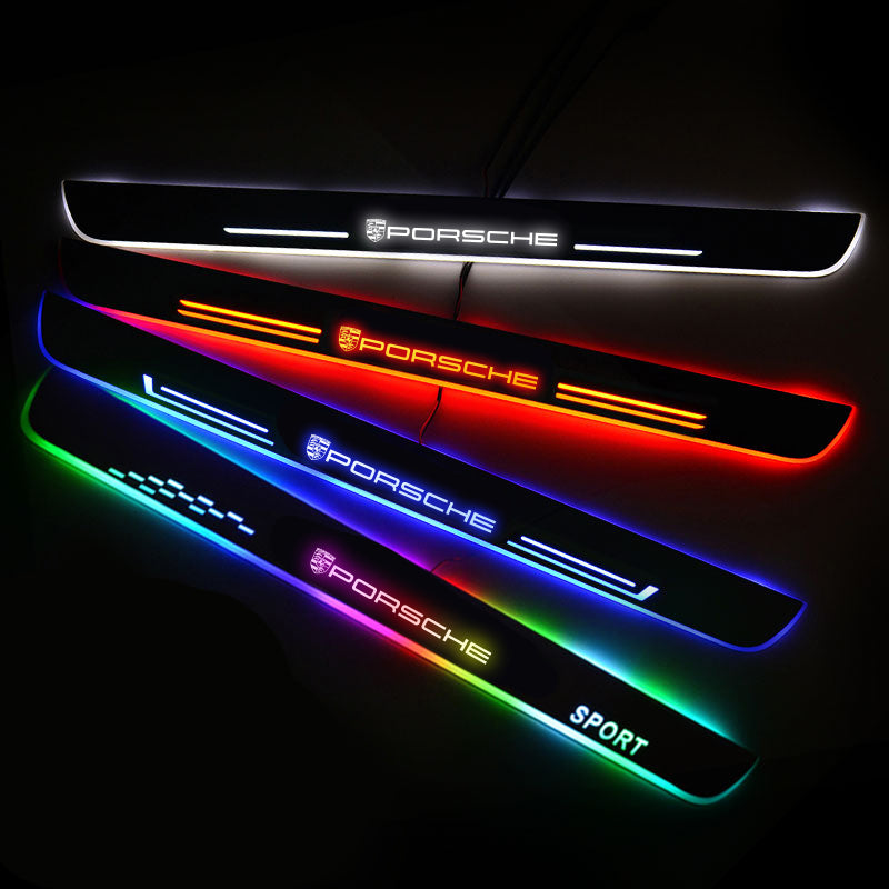 Porsche Customized Luminous Door Sill Pan | Door Sills Guards For Car Light Modification