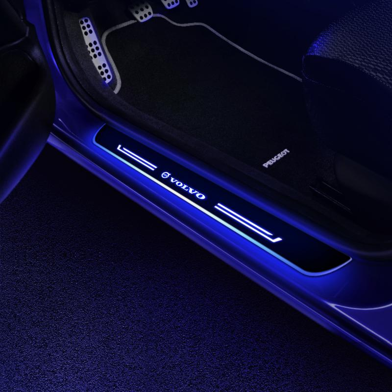 VOLVO Batteries Powered Illuminated Door Sills | Door Sill Protector | Car Decorative Light Upgrade