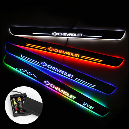 CHEVROLET Compatible Car Door Sills Exterior | Door Sill Guard | Light Accessories Power By Batteries