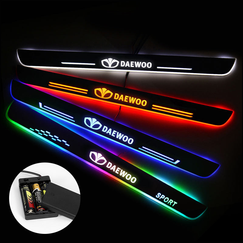 Daewoo Door Sill Pan | Batteries Powered LED Door Sills Entry Guards Light | Car Accessories