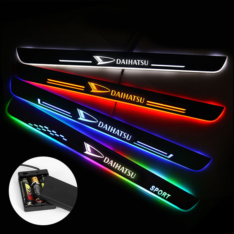 Daihatsu Door Sills Plate | Batteries Powered Door Sill Trim Illuminated For Car light modification