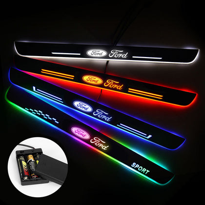 Ford Compatible Door Sills Trim Plates | Batteries Powered Door Sill Lights For Car Decorative Light Upgrade