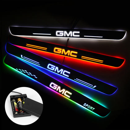 GMC Compatible Door Sill Pan | Batteries Powered LED Door Sills Entry Guards Light | Car Accessories