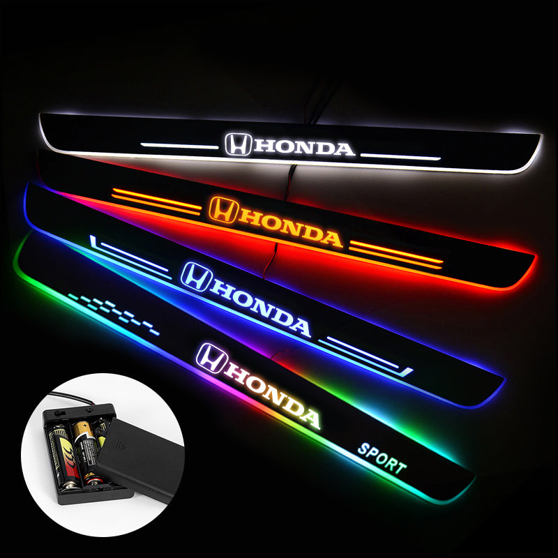 Honda Door Sills Plate | Batteries Powered Door Sill Trim Illuminated For Car light modification