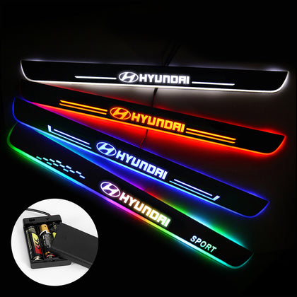 Hyundai Compatible Car Door Sills Protectors | Door Sill Scuff Plate | Light Accessories Power By Batteries