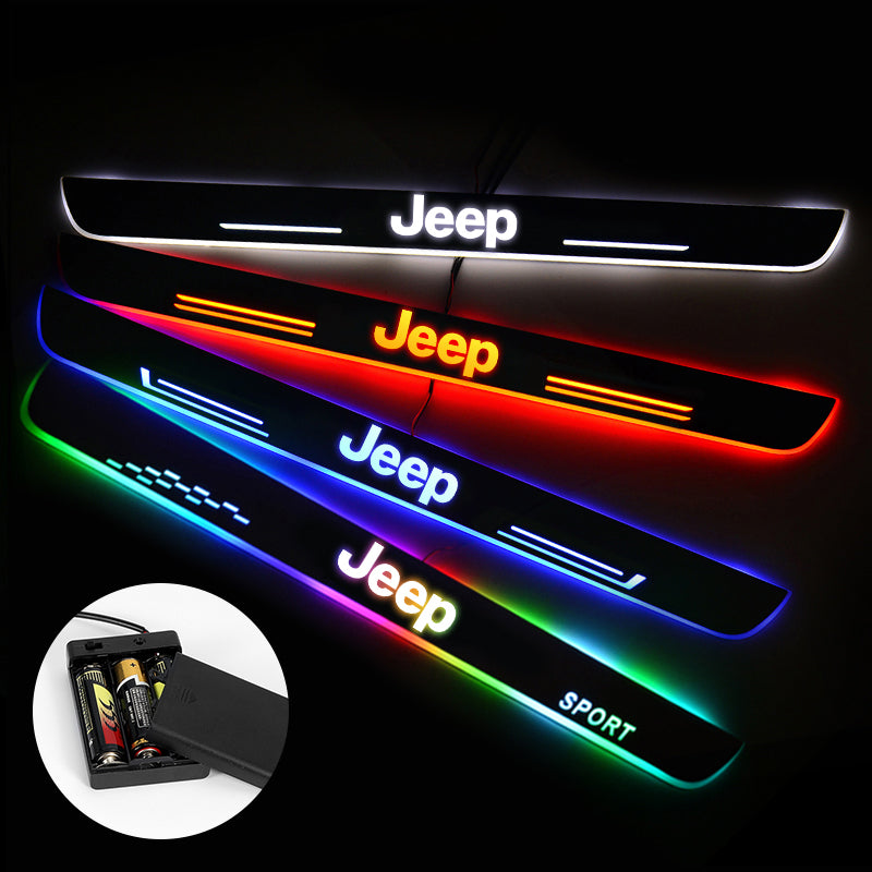 JEEP Door Sills Plate | Batteries Powered Door Sill Trim Illuminated For Car light modification