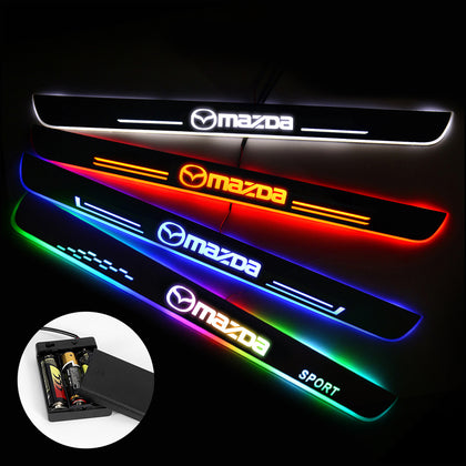 MAZDA Compatible Batteries Powered Illuminated Door Sills | Door Sill Protector | Car Decorative Light Upgrade