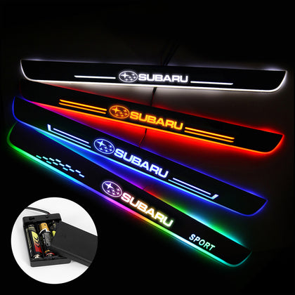 Subaru Compatible Batteries Powered Door Sill Threshold | Lighted Door Sills | Car Light Accessories