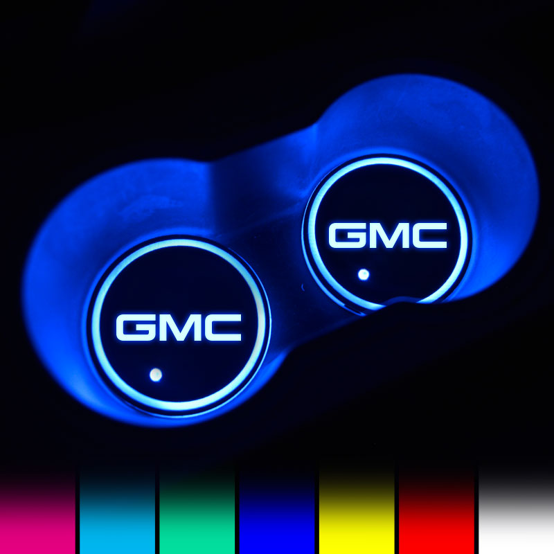 GMC LED Car Logo Coaster 2pcs
