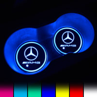 Mercedes-Benz Compatible LED Car Logo Coaster 2pcs