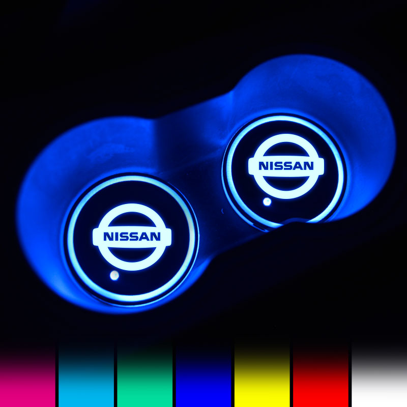 Nissan LED Car Logo Coaster 2pcs