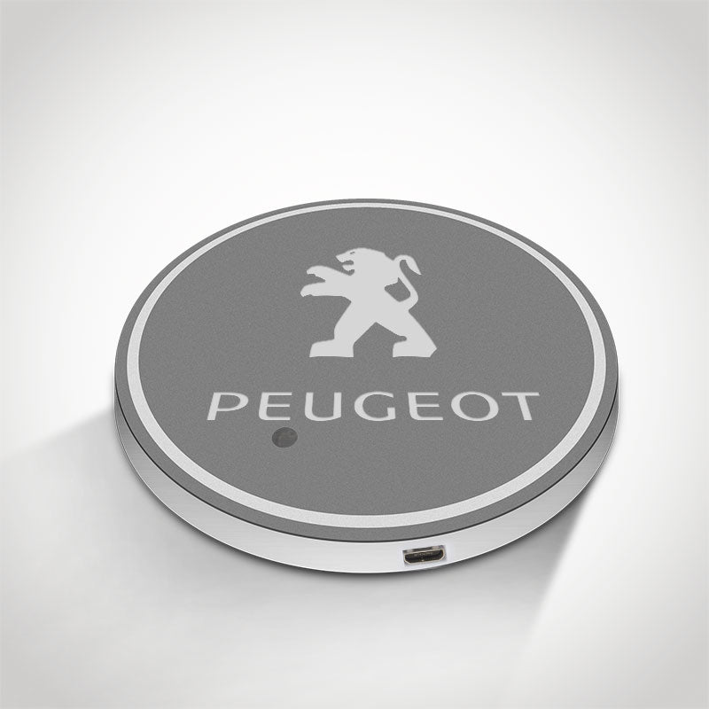 Peugeot LED Car Logo Coaster 2pcs