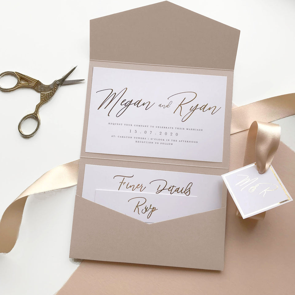 Foiled Wedding Pocketfold Invitations