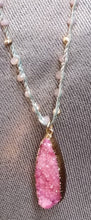 Load image into Gallery viewer, Pink Druzy Pendant Necklace