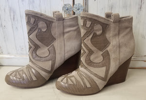 Steven Appliqued Suede Wedge Booties