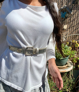 White Bell Sleeve Designer Sweater