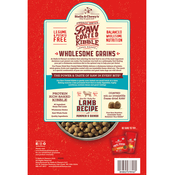 Lamb Recipe with Pumpkin & Quinoa Raw Coated Kibble Wholesome Grains - In Store Only