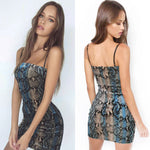 Sexy Women Dress Straped Bodycon Sleeveless Printed Evening Party Dress
