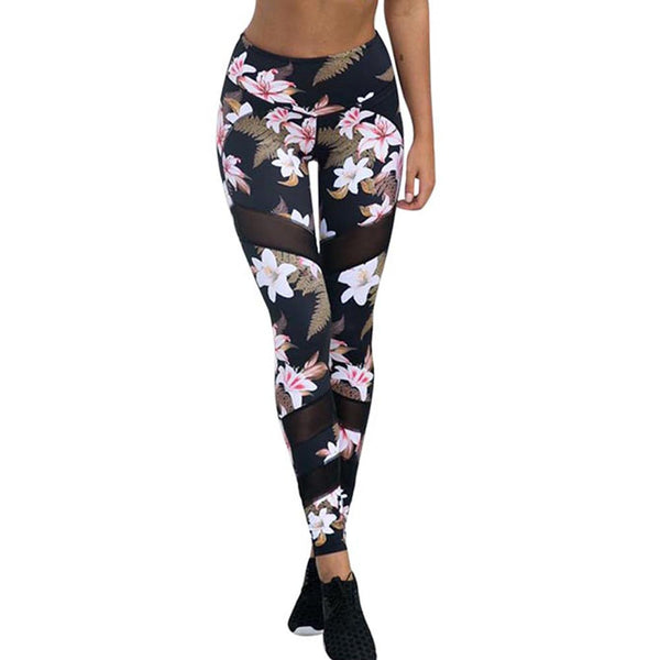 2018 Yoga Pants Women Sport Running Leggings Floral Print Female Workout Training Tights