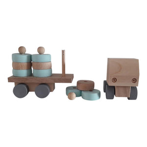 Wooden Truck with Round Stacking Blocks